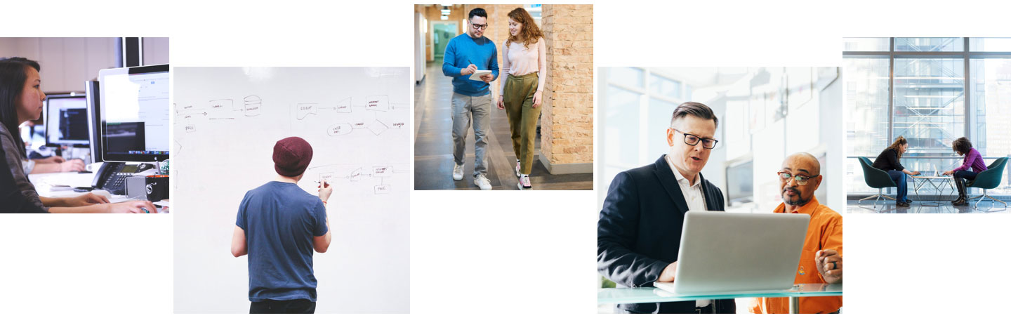 Collage of images showing office employees collaborating, walking, working at computers, using a whiteboard, having a discussion in front of a laptop.