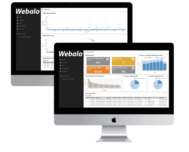 Webalo desktop screens for energy