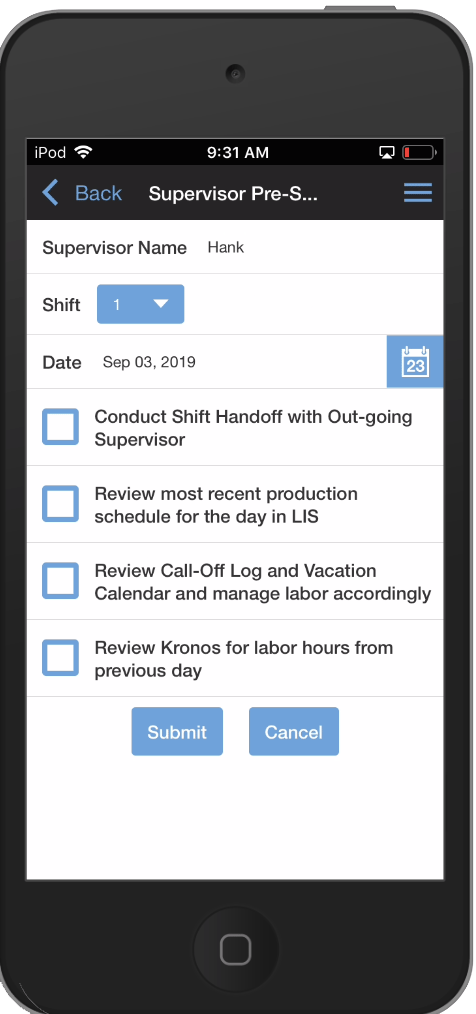 Webalo shift changeover screen for supervisors on iPhone
