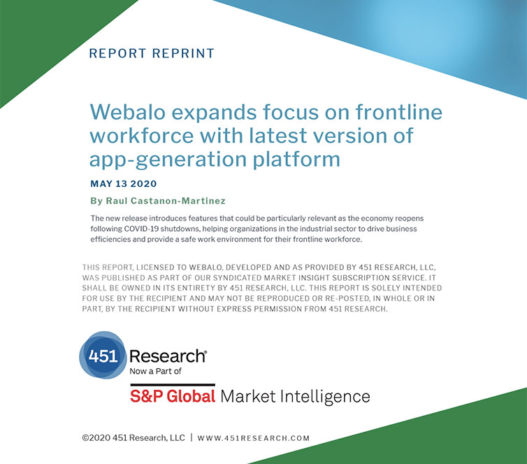 Image shows the title page of a 451 Research report called: Webalo expands focus on frontline workforce with latest version of app-generation platform May 13, 2020.