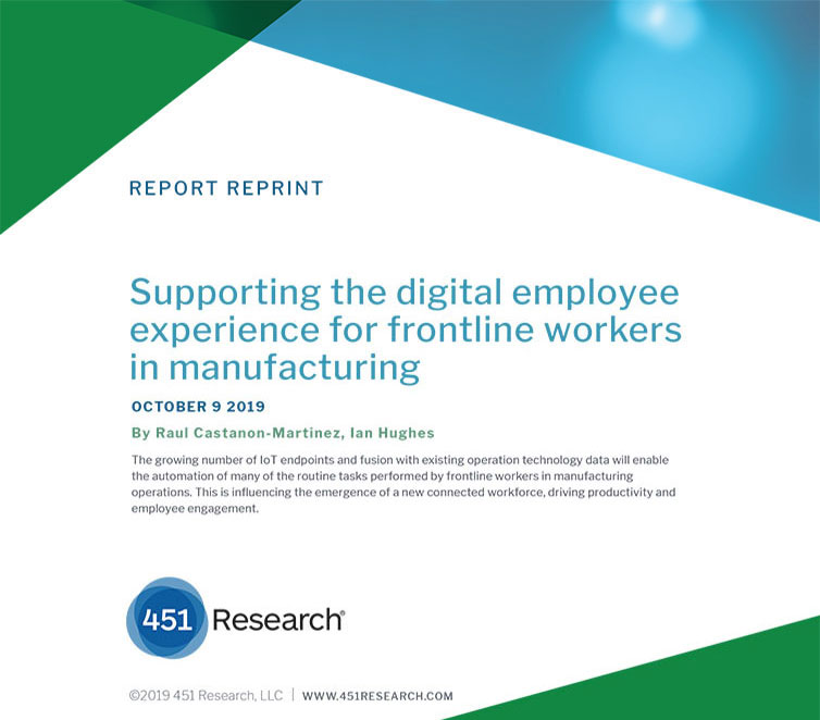Image shows the title page of a 451 Research report called: Supporting the digital employee experience for frontline workers in manufacturing.