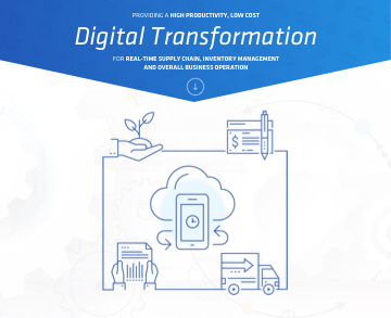 Image shows an illustration of a mobile device and the text: Providing a high productivity, low cost digital transformation for real-time supply chain inventory management and overall business operation.