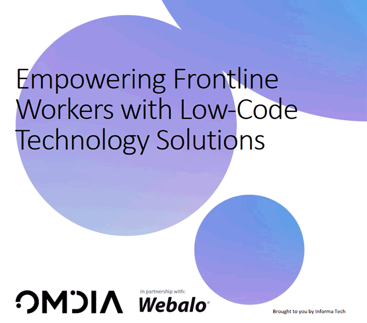 Front cover of whitepaper entitled, Empowering Frontline Workers with Low-Code Technology Solutions.